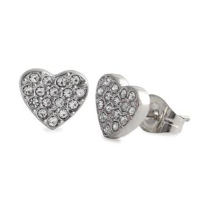 Picture of Silver Crystal Heart Studs